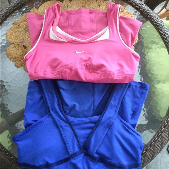 Set of 2 Nike Exercise Workout Tops M Pink Blue